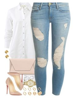 A fashion look from March 2016 featuring rag & bone blouses, Frame Denim jeans and Christian Louboutin pumps. Browse and shop related looks. Look Fashion, Teen Fashion, Runway Fashion, Autumn Fashion, Womens Fashion, Fashion Trends, Fashion Inspiration, Classy Outfits, Chic Outfits