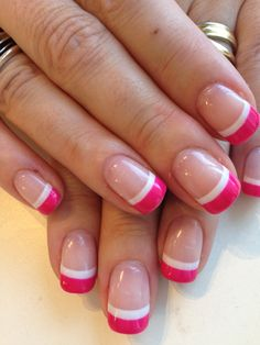 Two-tone French manicure in Bio Sculpture Gel colours: #3 - Snow White & #173 - Ipanema Sunset (Carnival Collection)