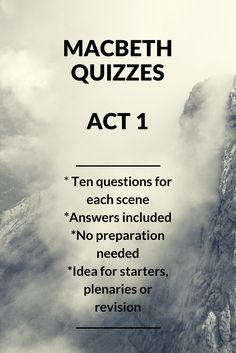 A short quiz, with answers, based on Act Scene 1 of Macbeth. English Literature Quotes, British Literature, Ap Literature, Secondary School English, Teaching Secondary, English Gcse Revision, Exam Revision, Revision Notes, Teaching Theatre