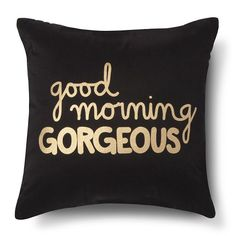 <p>Give yourself a boost every morning with the Xhilaration Good Morning Gorgeous! Decorative Pillow in Navy/Gold (Square). Not only will this throw pillow have you smiling but it's a perfect gift for a special someone that you're separated from. Imagine setting the mood for a delightful day with a thoughtful sentiment. Why have a regular decorative pillow when you can get one that would mean so much.</p>