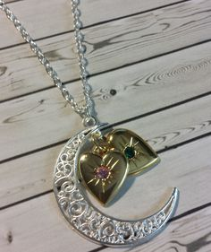 Handmade I Love You To The Moon Double Birthstone Heart Necklace (You choose) - Necklaces & Pendants
