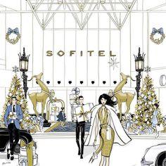Merry Christmas Illustration for Sofitel Hotel Melbourne by Tiffany La Belle www.tiffanylabelle.com
