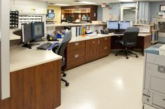 Modular cabinets configured in a custom way to fit the hospital pharmacy's needs.