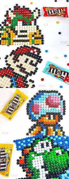 Pixel Art Nintendo Characters made of M&Ms - Pixel Art Bowser, Pixel Art Mario, Pixel art Yoshi. Pixel art Collection. #pixelart #nintendoart #pixelcharacters #bowser #yoshi #mario #toad Legend Of Zelda, Yoshi Drawing, Projects For Kids, Art Projects, Zelda Birthday, Food Art Painting, Nintendo, Food Art For Kids, Speed Art