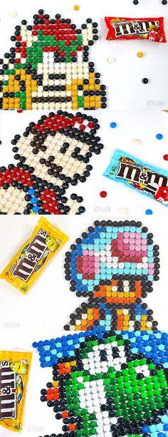 Pixel Art Nintendo Characters made of M&Ms - Pixel Art Bowser, Pixel Art Mario, Pixel art Yoshi. Pixel art Collection. #pixelart #nintendoart #pixelcharacters #bowser #yoshi #mario #toad Legend Of Zelda, Yoshi Drawing, Nintendo, Zelda Birthday, Food Art Painting, Food Art For Kids, Speed Art, Candy Art, Crayon Art