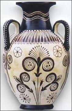 MINOAN PAPIRUS Flower Vase: Hand-painted polychrome (Greek) _____________________________ Reposted by Dr. Veronica Lee, DNP (Depew/Buffalo, NY, US) Pottery Painting, Pottery Art, Minoan Art, Bronze Age Civilization, Mediterranean Art, Greek Pattern, Ancient Greek Art, Greek Culture, Creta