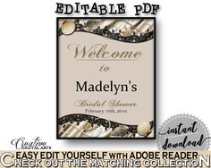 Bridal Shower Welcome Sign Editable in Seashells And Pearls Bridal Shower Brown And Beige Theme, entrance sign, party ideas - 65924 #bridalshower #bride-to-be #bridetobe