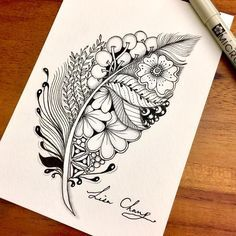 Feather Hand Drawn Zentangle Doodle Drawings. By Lisa Chang.