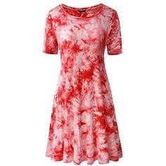 Women's Casual Tie Dye Loose Cotton T-Shirt Tunic Dresses