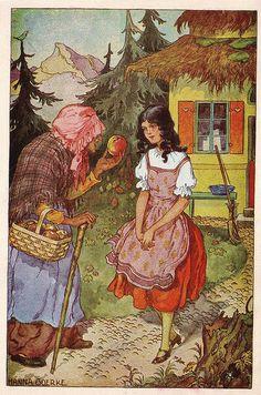 old Snow White illustration Snow White Art, Snow White Apple, Fairytale Art, Children's Book Illustration, Altered Art, Fantasy Art, Fairy Tales, Witch, Drawings