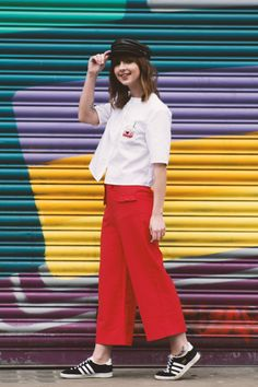 Ruffle Pocket Culottes Red http://www.thewhitepepper.com/collections/bottoms/products/ruffle-pocket-culottes-red Crop Shirt with Patch White http://www.thewhitepepper.com/collections/tops/products/crop-shirt-with-patch-white