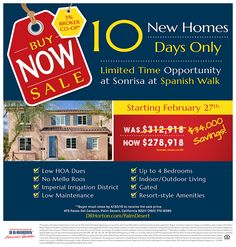 BROKERS - 3% FOR YOU, GREAT SAVINGS FOR YOUR CLIENTS  LIMITED TIME ONLY!  10 Homes in 10 Days!  Sonrisa at Spanish Walk in Palm Desert  http://www.drhorton.com/California/Palm-Springs/Palm-Desert/Spanish-Walk.aspx