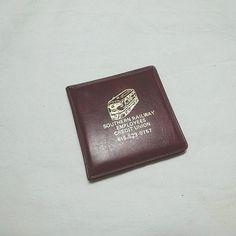 1970s Vintage Southern Railway Employees Credit Union Purse Double Mirror in Vinyl Case, 3 Inches Sq