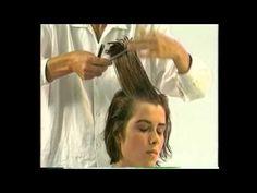 Женская стрижка и химическая завивка на волосы средней длины - YouTube