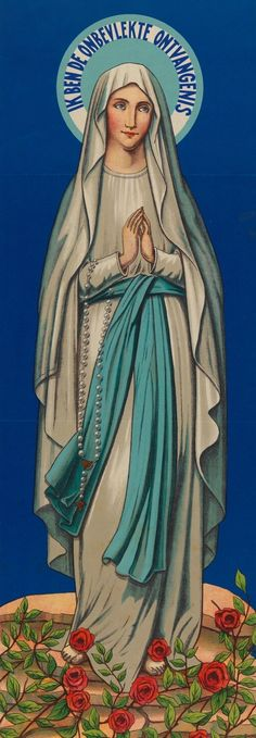 A detail of a Belgian poster from 1940 promoting the pilgrimage to Our Lady of Lourdes in Oostakker.