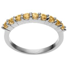 1/4 CT. T.W. Round-Cut Citrine Accent Prong Set Ring in Sterling Silver - Yellow
