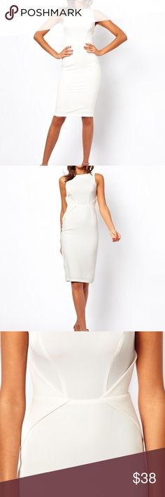 White Asos pencil dress 12Tall *sold out** Cute white dress never worn. The material is stretchy but I would say slightly see through if pulled too much. Very class with waist detail. Size 12Tall. Asos Dresses Midi