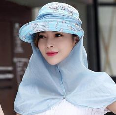 Flower sun hat with neck cover uv protection visor hats for women outdoors  wear 5f54437ba89d