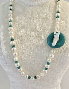 Pearl and Turquoise with Fresh Water Pearl Clasp at $140 check out- belle4ever.com