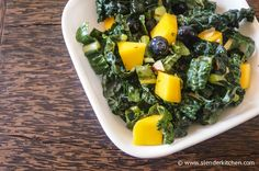Sesame Kale Salad with Mango and Blueberries