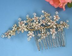 Wedding bridal comb, gold with champagne crystals