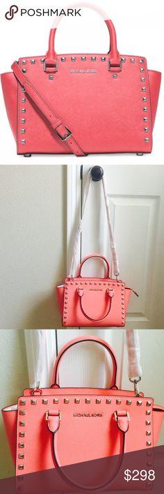 Michael Kors medium Selma Brand new with tag. Safiano leather. Color: coral Michael Kors Bags Crossbody Bags