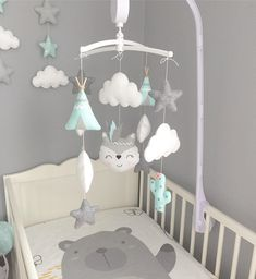 Baby Bedroom, Baby Boy Rooms, Little Girl Rooms, Nursery Room, Nursery Decor, Fox Mobile, Star Mobile, Baby Crib Mobile, Baby Decor