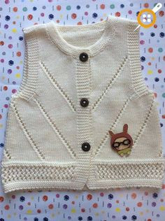 Baby Vest Decoration Techniques – Knit Vest Decorations for Babies - Knitting Pullover Design, Sweater Design, Crochet Headband Pattern, Knitted Headband, Knitting For Kids, Baby Knitting Patterns, Bebe Baby, Knit Vest, Baby Sweaters