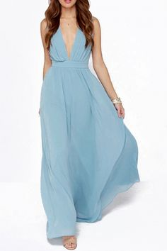 Vintage Plunging V Neckline Back Cut-Out Maxi Chiffon Dress - OASAP.com
