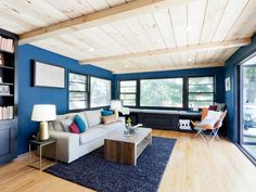 Navy Blue Living Room With Pine Ceilings