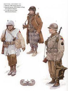 U.S.ARMY, BASTOGNE, Dic 1044 - 1 Rifleman, 28th Infantry Division - 2 Bazooka gunner, 327 Glider Inf Rgmt, 101th Airborne Division - 3 T/5, 20th Armd Inf Regt. 10th Armoured Division