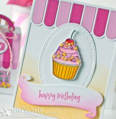 PTI Colorful Treats + Cover Plate: Awning Birthday card by Betsy Veldman