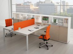 Escritorio de oficina operativo con estantes JOINT by ESTEL GROUP Office Lobby, Office Desk, Office Space Design, Cubicle, Decoration, Office Furniture, Man Cave, Corner Desk, House