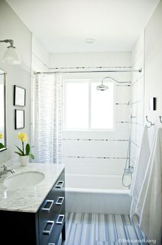 Modern Elegant Boys Bathroom.  Stripe tile pattern.