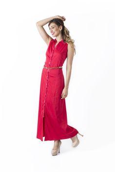 Claudia Suarez - Bosque Paraíso Collection REF: Dress SIZE: Material Colors:Red,orange,black,white. Black White, Simple Dresses, Red Color, Wrap Dress, Dressing, Crop Tops, Orange, Elegant
