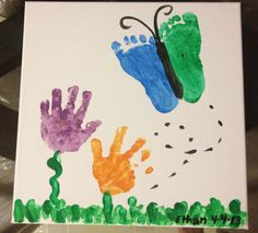 Unique and beautiful way to capture your lil one's hand and foot prints... Perfect for Mother's Day or fun Spring art project!