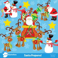 80%OFF Santa Claus clipart, christmas clipart package, vector graphics, digital clipart, instant download,  AMB-508