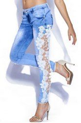 Trendy Broken Hole Rose Printed See-Through Lace Spliced Jeans For Women (DEEP BLUE,L) | Sammydress.com Mobile