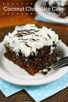 Coconut Chocolate Cake {with Coconut Whipped Cream Frosting}