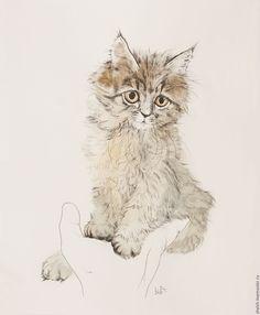 Купить картина Котенок Лиза - кошка, графика кот, коты, кошки на заказ - картина на заказ