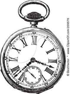 Royalty-Free (RF) Clipart Illustration of a Retro Black And White Retro Pocket Watch - 2 by BestVector #209576