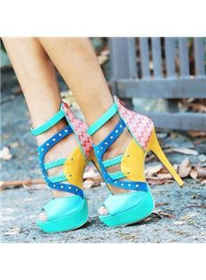 New Arrival Contrast Colour Coppy Leather Platform High Heel Sandals