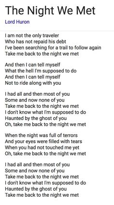 The Night We Met Lyrics Lord Huron