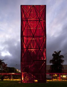 Red glass Nestlé chocolate museum in the sky by Metro.