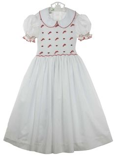 2a9a972d736 Little Threads white smocked dress with embroidered candy canes
