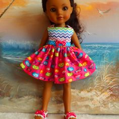 Hearts 4 Hearts Corolle Les Cheries Doll Clothes Dress Kitty Faces and Chevon Medley by sewgrandmacathy on Etsy https://www.etsy.com/listing/224402237/hearts-4-hearts-corolle-les-cheries-doll