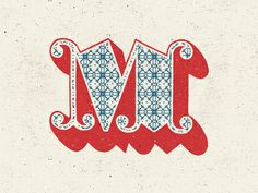 m / letters / blue & red / intricate design