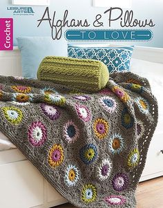 For unbeatable comfort and impressive room décor, crochet any of the seven sets in Afghans and Pillows to Love from Leisure Arts. The diverse styles offer something for everyone, with eye-catching colors and trendy twists on traditional patterns. Granny Square Crochet Pattern, Afghan Crochet Patterns, Quilt Patterns, Crochet Stitches, Crochet Afghans, Crochet Quilt, Crochet Books, Crochet Home, Crochet Throws