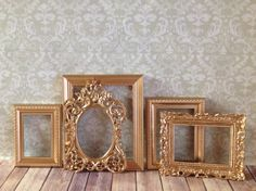 Vintage Style PICTURE FRAMES Gold Glam  shabby by VintageEvents