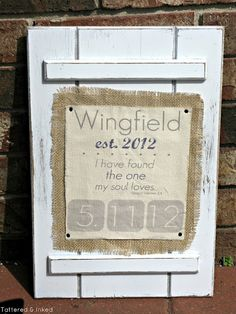 Tattered and Inked: Handmade Wedding Gift: Printed Fabric Sign